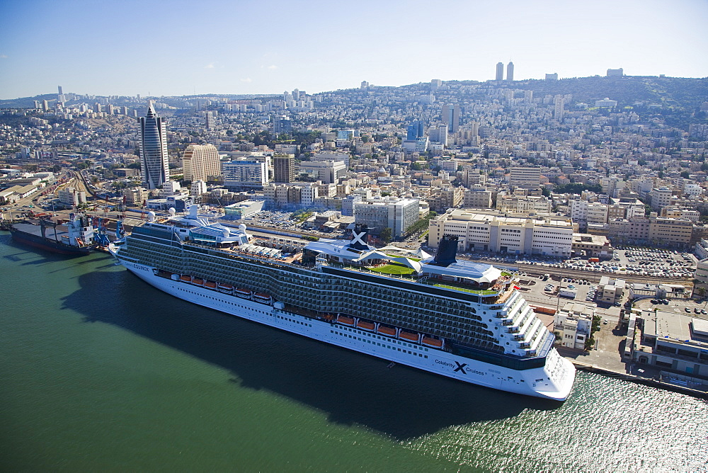 The luxury passenger ship of Celebrity Equinox docking in the port of Haifa - 837-1136