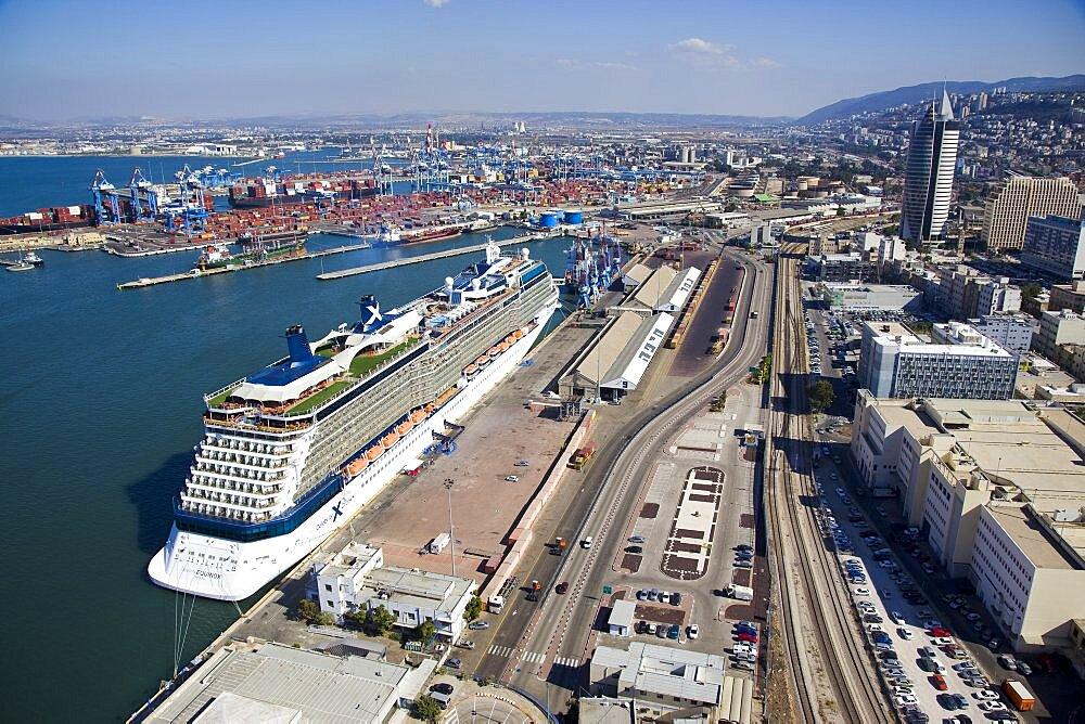 The luxury passenger ship of Celebrity Equinox docking in the port of Haifa - 837-1138