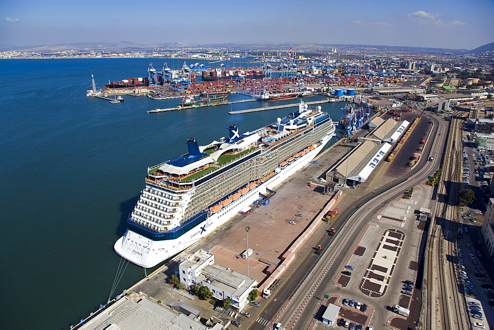 The luxury passenger ship of Celebrity Equinox docking in the port of Haifa - 837-1139