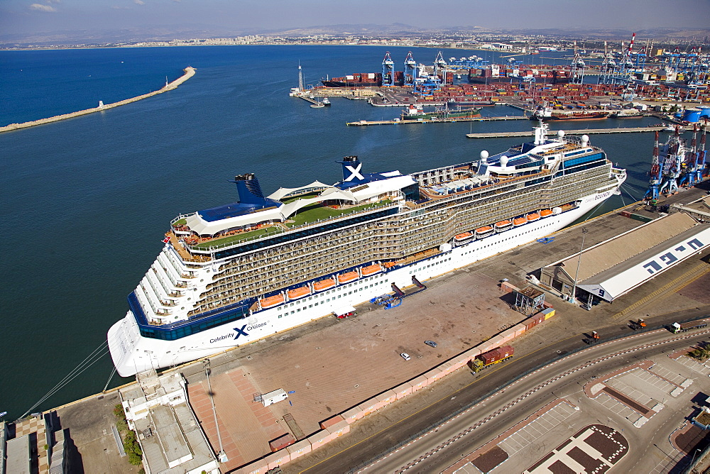 The luxury passenger ship of Celebrity Equinox docking in the port of Haifa - 837-1140
