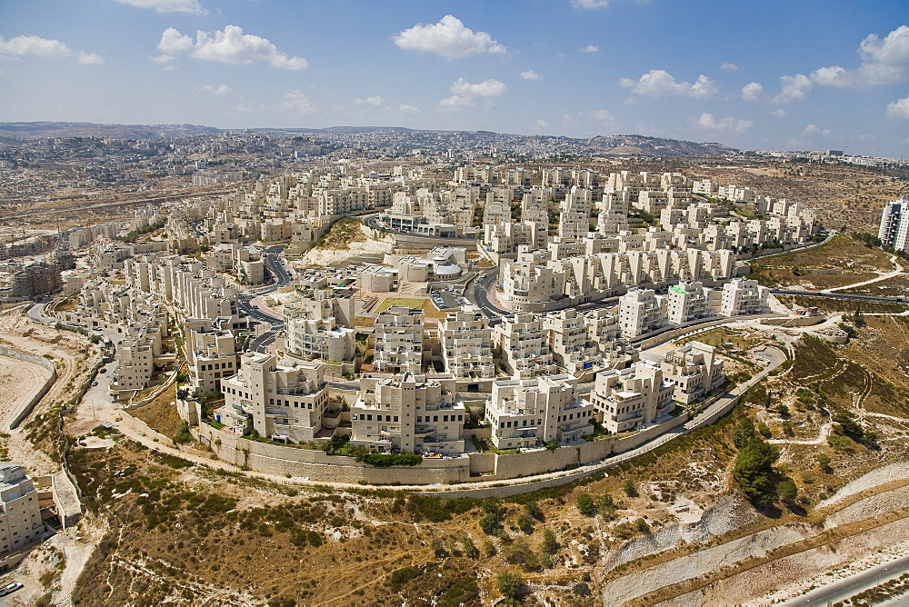 Aerial photograph of a new resedential neighborhood in the city of Jerusalem, Israel
