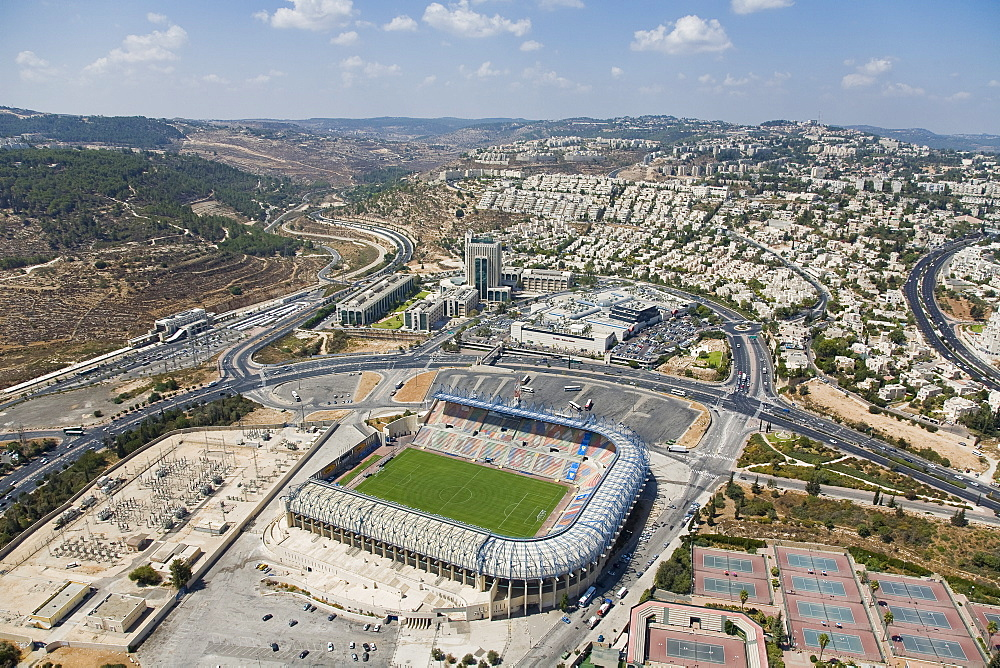 Aerial photograph of Teddy stadium in western Jerusalem, Israel
