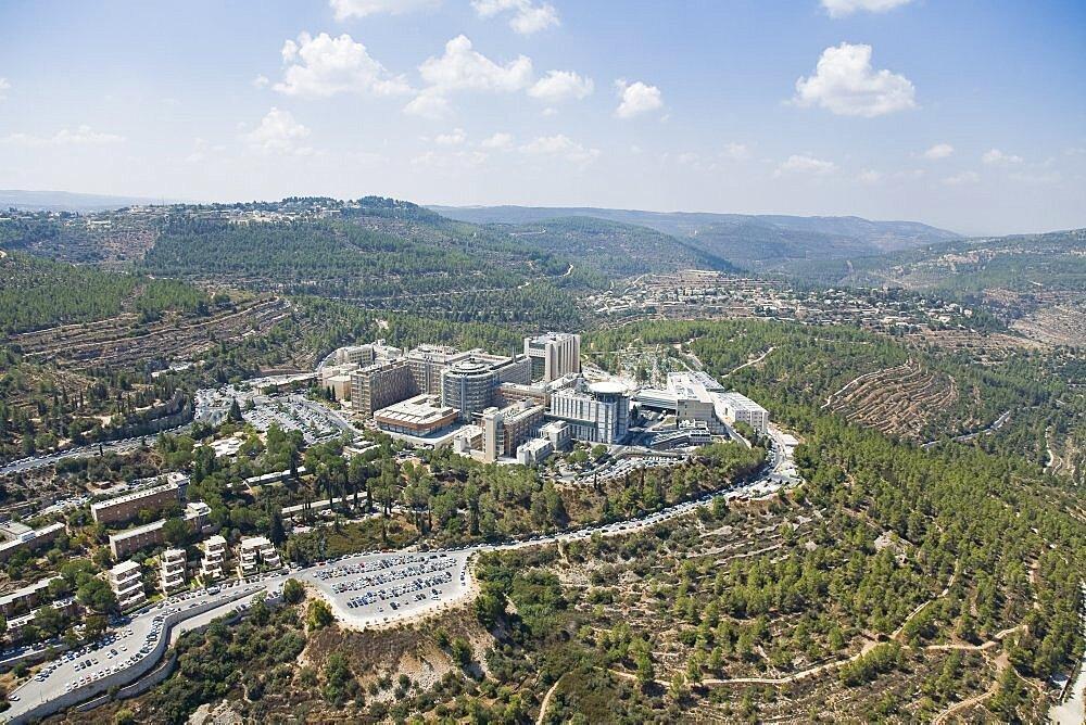 Aerial Hadasa Ein Kerem Hospital in Jerusalem, Israel