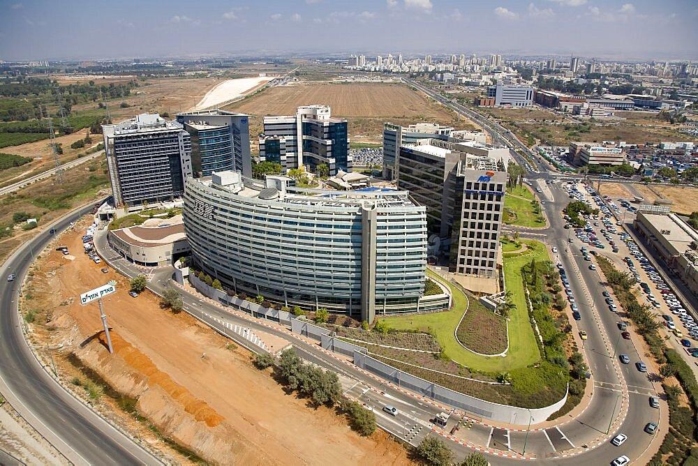 Aerial Business buildings of Petah Tiqwa, Israel
