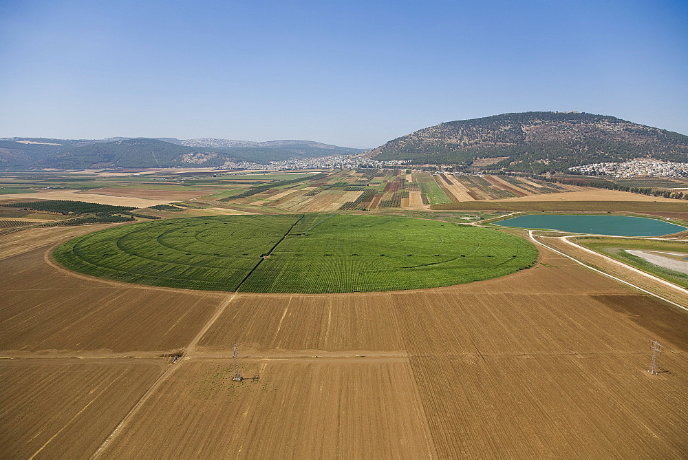 Panoramic view of the agriculture fields of the Jezreel valley, Israel