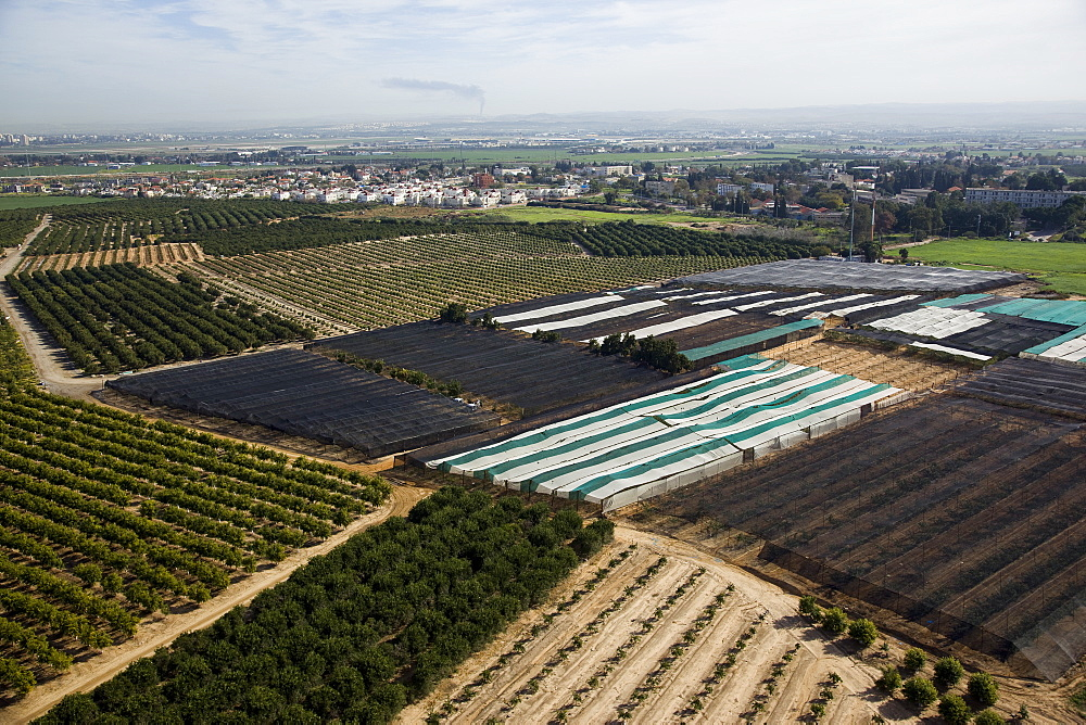 Aerial agriculture fields of the Sharon, Israel