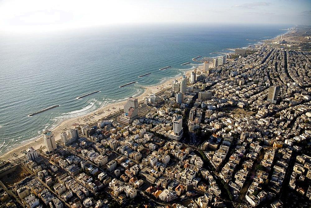 Aerial photograph of Tel Aviv's coastline, Israel