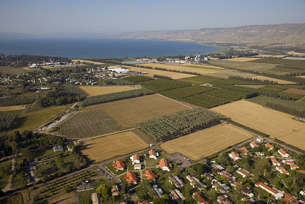 Aerial agriculture fields of the Jordan valley near the Sea of Galilee, Israel