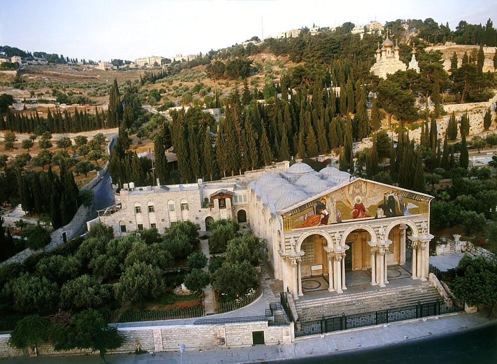 Aerial church of Gethsamene at the mount of Olives, Israel