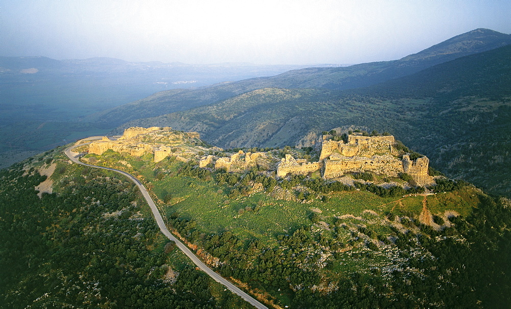 Aerial view of the fortress of Nimrud in the northern Golan Heights, Israel