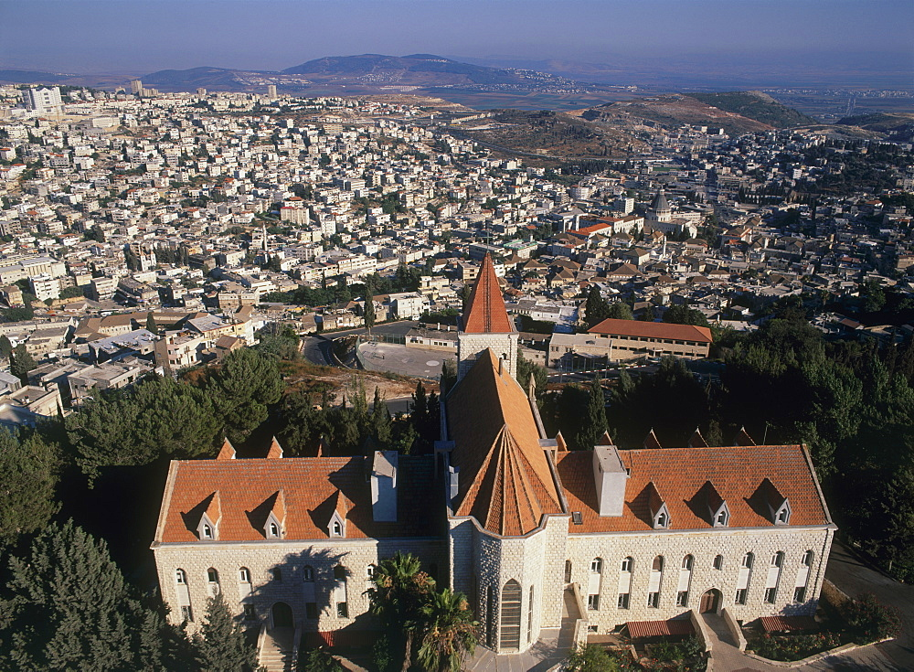 Aerial photograph of Nasareth in the Lower Galilee, Israel