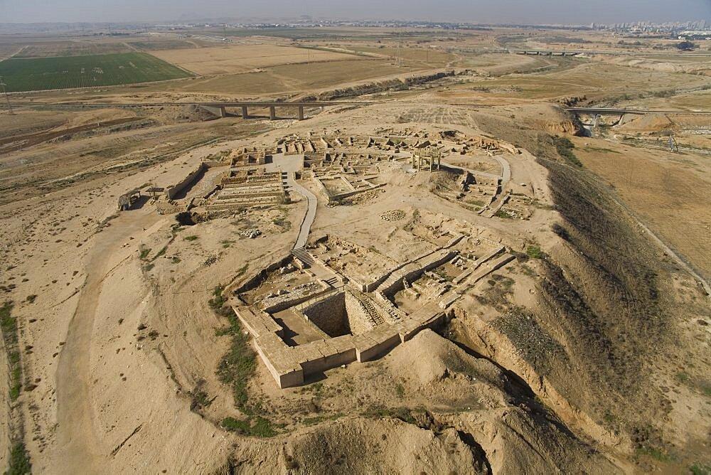 Aerial ruins of Tel Sheva in the northern Negev Desert, Israel
