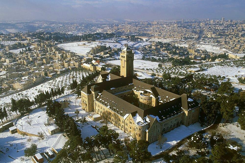 Aerial Augusta Viktoria monastery in Eastern Jerusalem, Israel