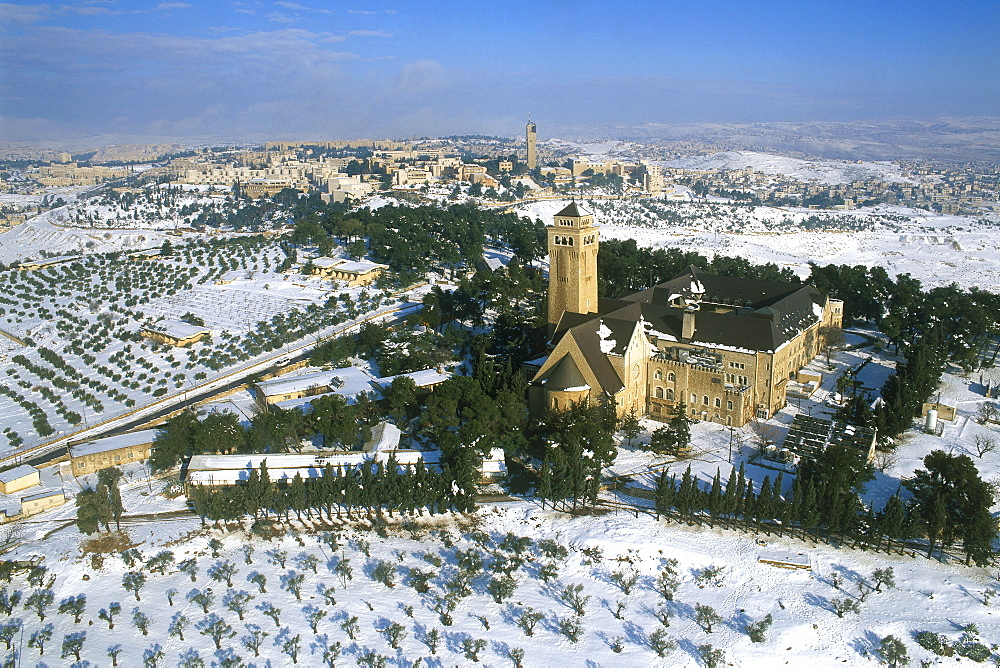 Aerial Augusta Viktoria monastery on mount Scopus, Israel