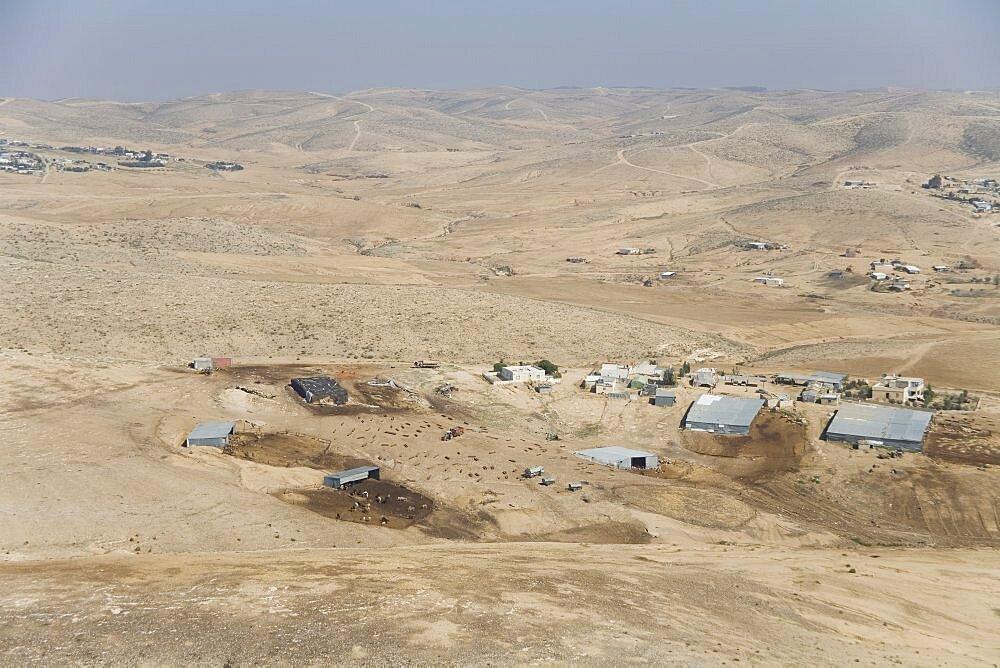 Aerial Beduin villages in the northern Negev desert, Israel