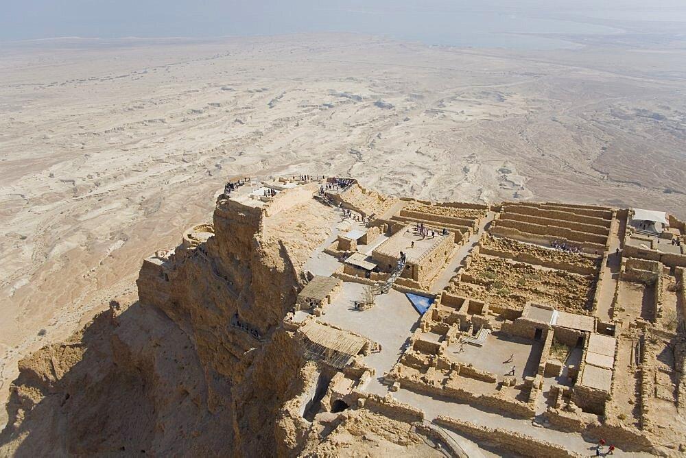 Aerial archeology site of Masada near the Dead sea, Israel