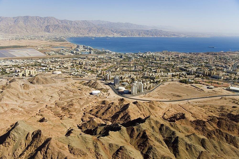 Aerial city of Eilat in southern Israel, Israel