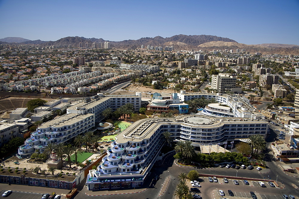 Aerial Hotels of the city of Eilat, Israel