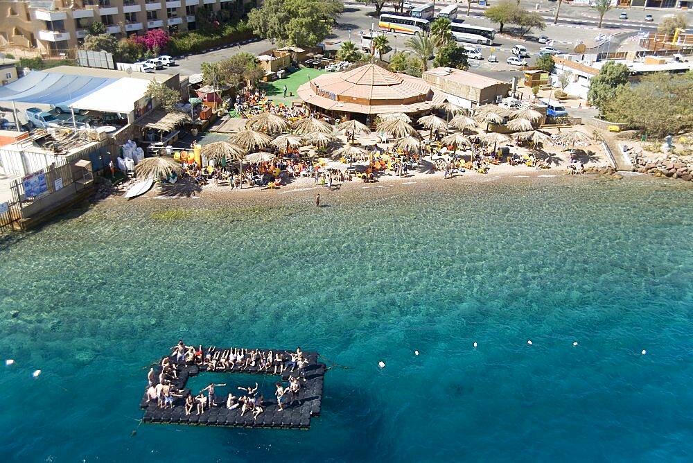Aerial photograph of a beach in Eilat, Israel