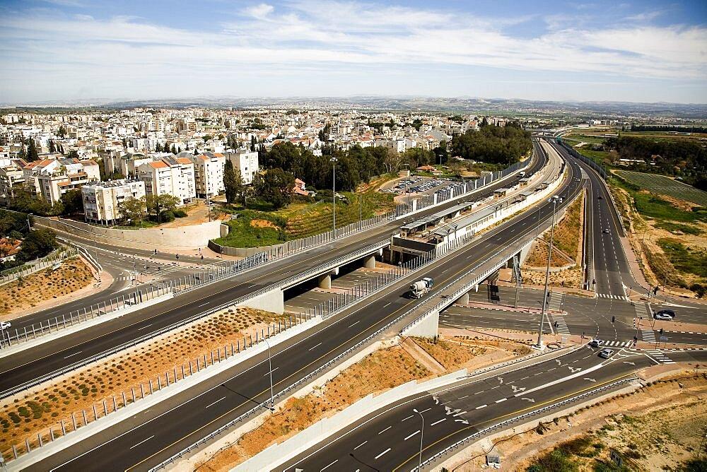 Aerial city of Kfar Saba in the Sharon, Israel