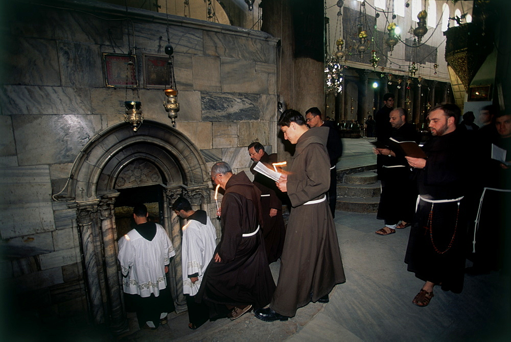 Photograph of a christian ceremony in the nativity Bethlehem, Israel