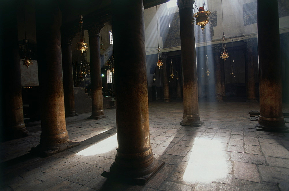 Photograph of the church of the nativity in Bethlehem Judea, Israel