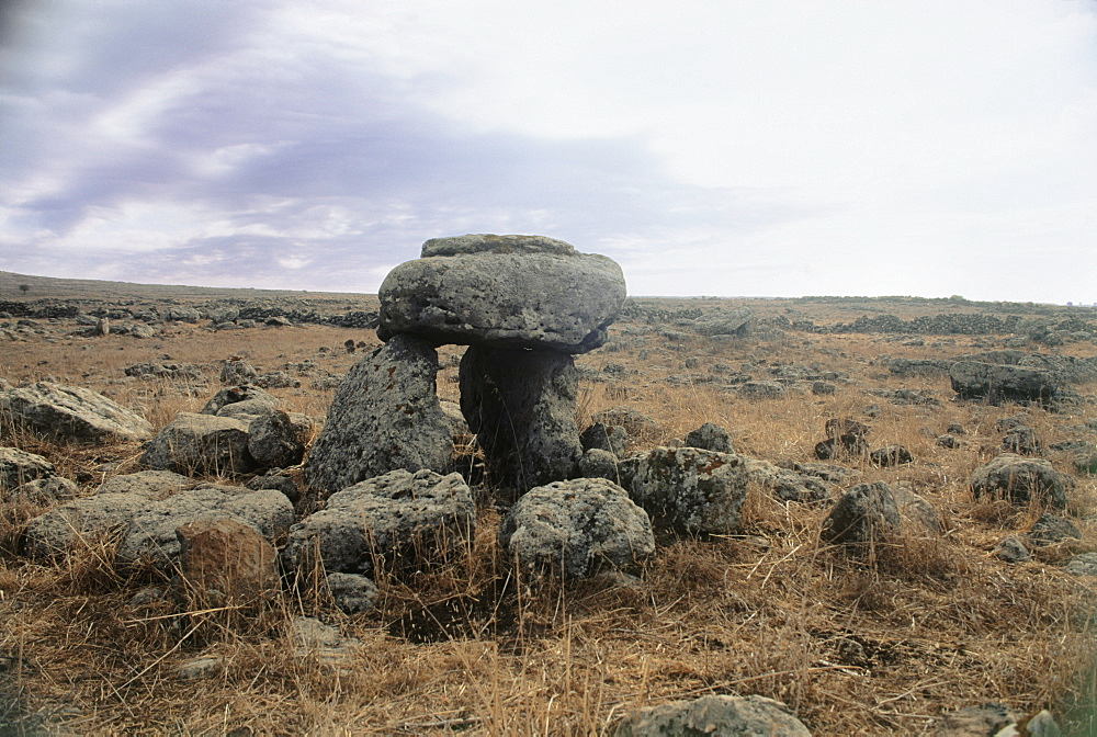 Photograph of a Dolmen dated to the Prehistoric period in Southern Golan Heights, Israel
