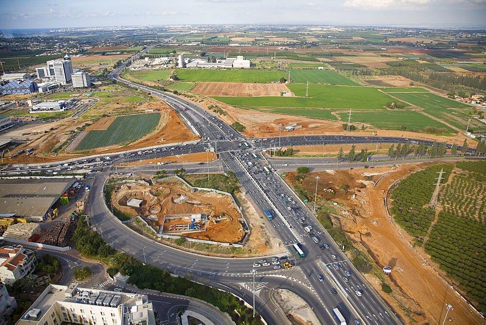 Aerial photograph of the old northern junction of Kfar Saba and Ra'anana, Israel