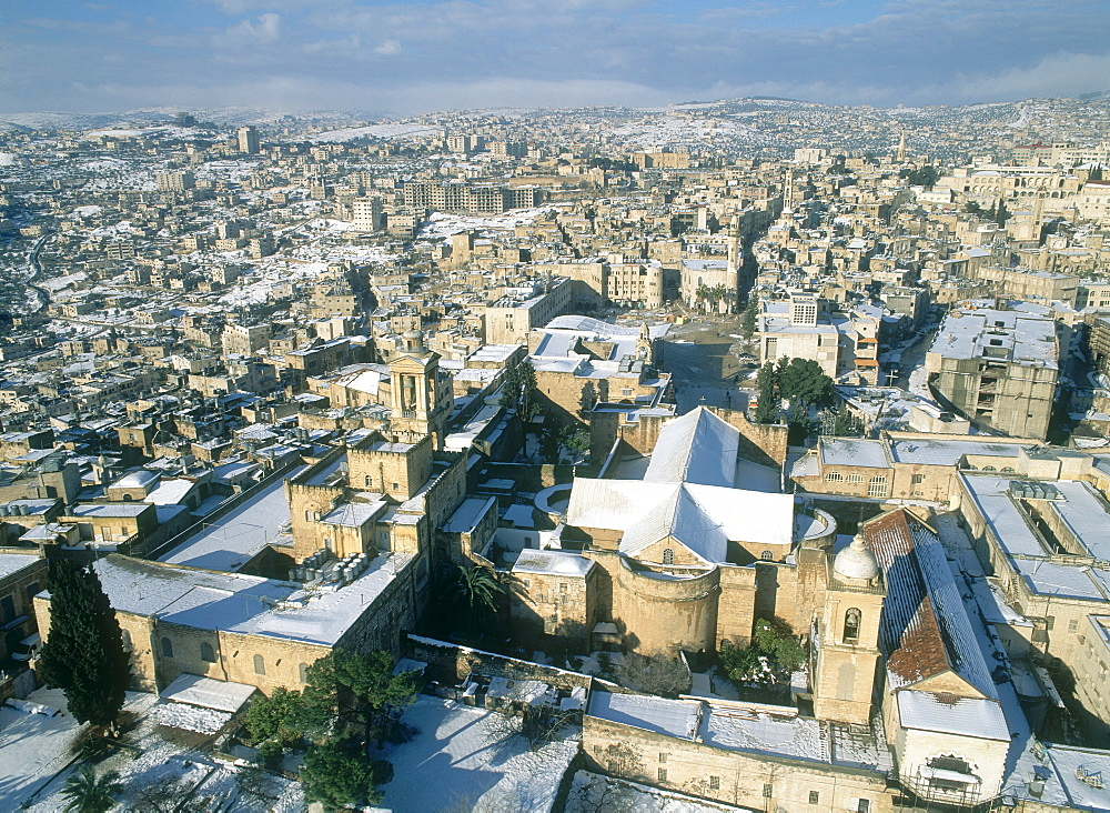 Aerial photograph of the church of the Nativity in the Judean city of Bethlehem, Israel