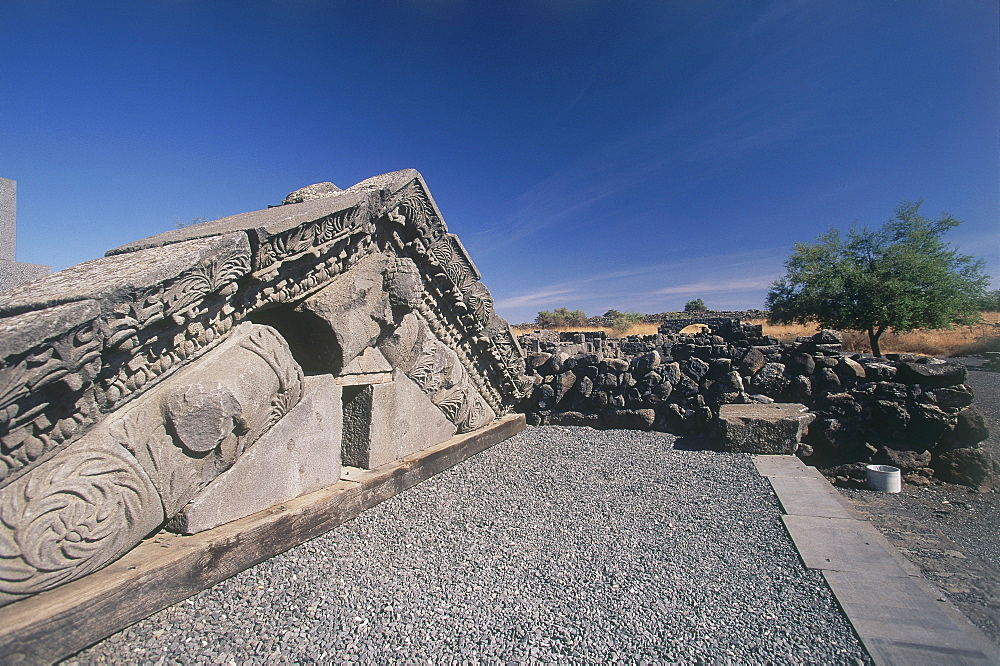 Photograph of the ruins of the ancient synagouge of Korazim in the Galilee, Israel