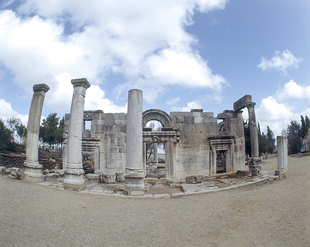 Photograph of the ruins of the ancient synagouge of Baram in the Upper Galilee, Israel