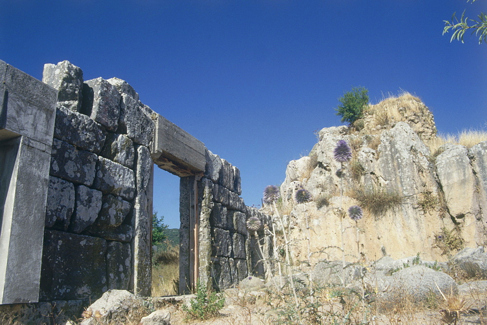 Photograph of the ruins of the ancient synagouge of Meiron in the Upper Galilee, Israel