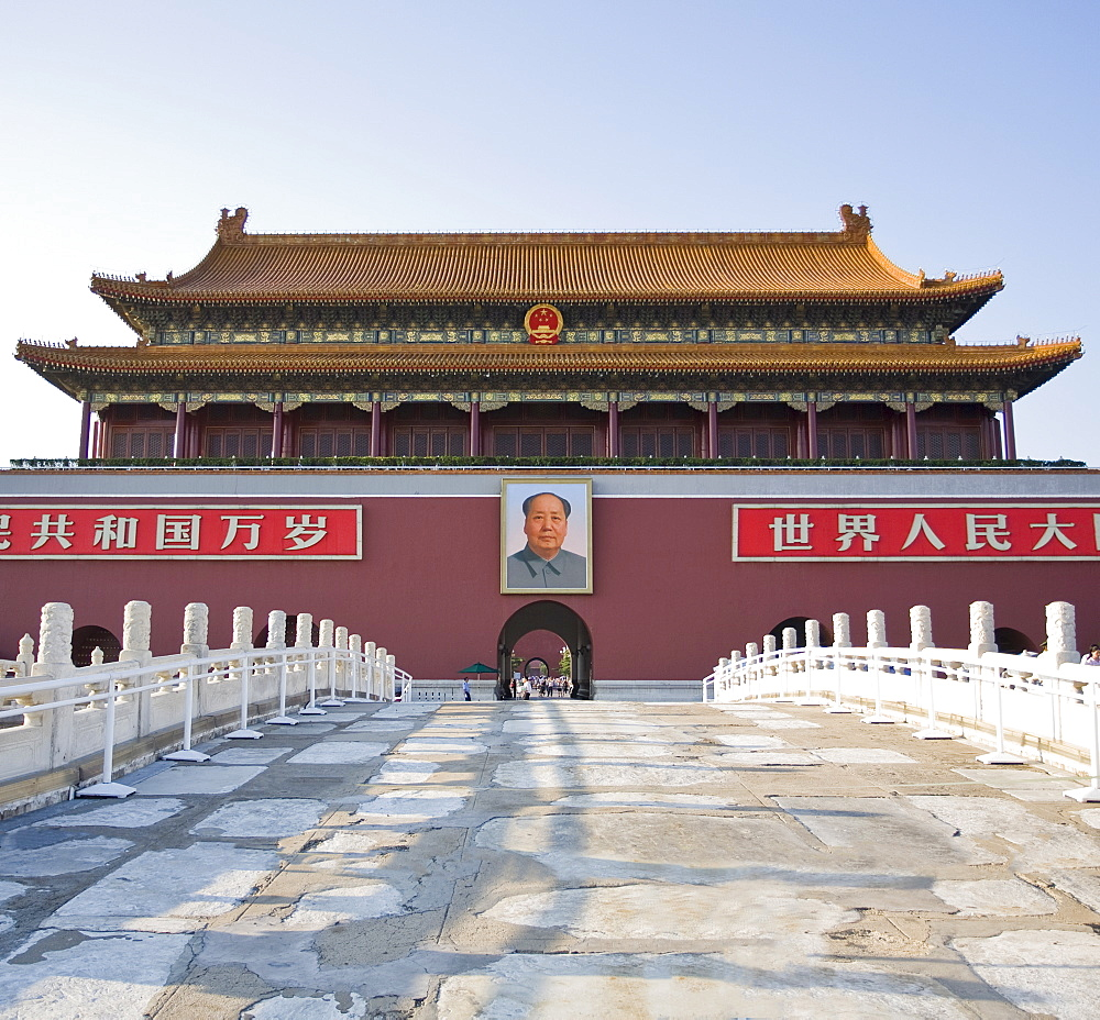 Main entrance to The Forbidden City, with Chairman Mao Tsedong's portrait hanging above the doorway, Beijing, China, Asia - 839-11