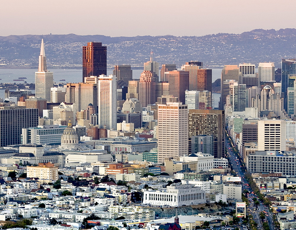 Downtown San Francisco with the Transamerica Pyramid and Market Street as viewed from Twin Peaks, San Francisco, California, United States of America, North America