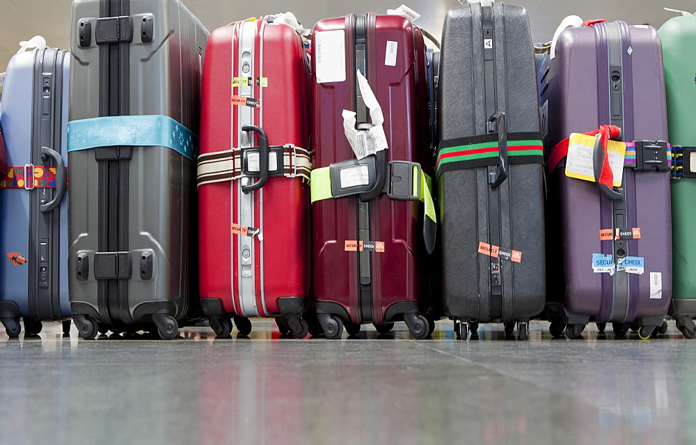 Luggage and suitcases lined up, Beijing, China, Asia