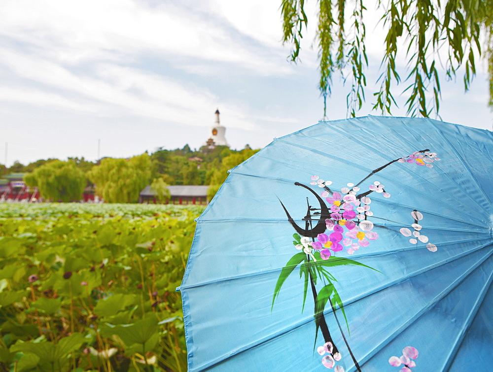 The Bai Ta, White Buddhist Stupa, on Qionghua Island in BeiHai Park, Beijing, China, Asia - 839-36