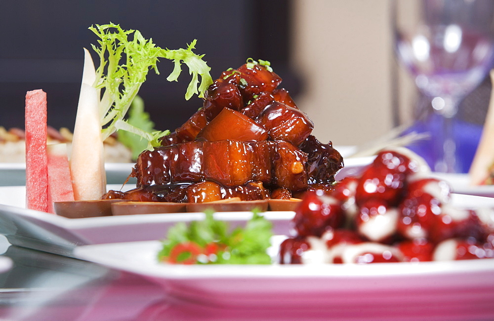 Shanghai specialty dish of red cooked pork served elegantly in a Chinese restaurant, Shanghai, China, Asia