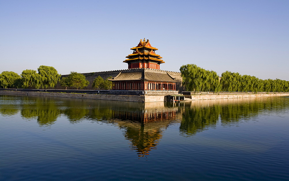 The northwest corner tower and water filled moat surrounding The Forbidden City, Beijing, China, Asia - 839-53
