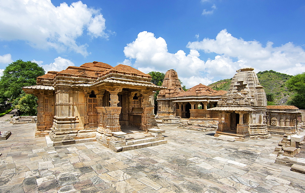 The Sas-Bahu Temples consisting of two temples and a stone archway with exquisite carvings depicting Hindu deities, near Udaipur, Rajasthan, India, Asia - 839-71