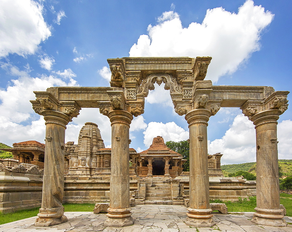 The Sas-Bahu Temples consisting of two temples and a stone archway with exquisite carvings depicting Hindu deities, near Udaipur, Rajasthan, India, Asia - 839-74