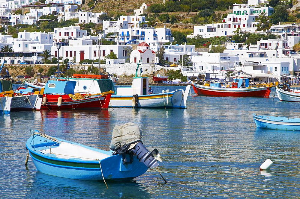 White houses on the island of Mykonos, Cyclades, Greek Islands, Greece, Europe