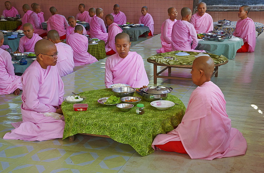 Nuns at lunch, Yangon (Rangoon), Myanmar (Burma), Asia