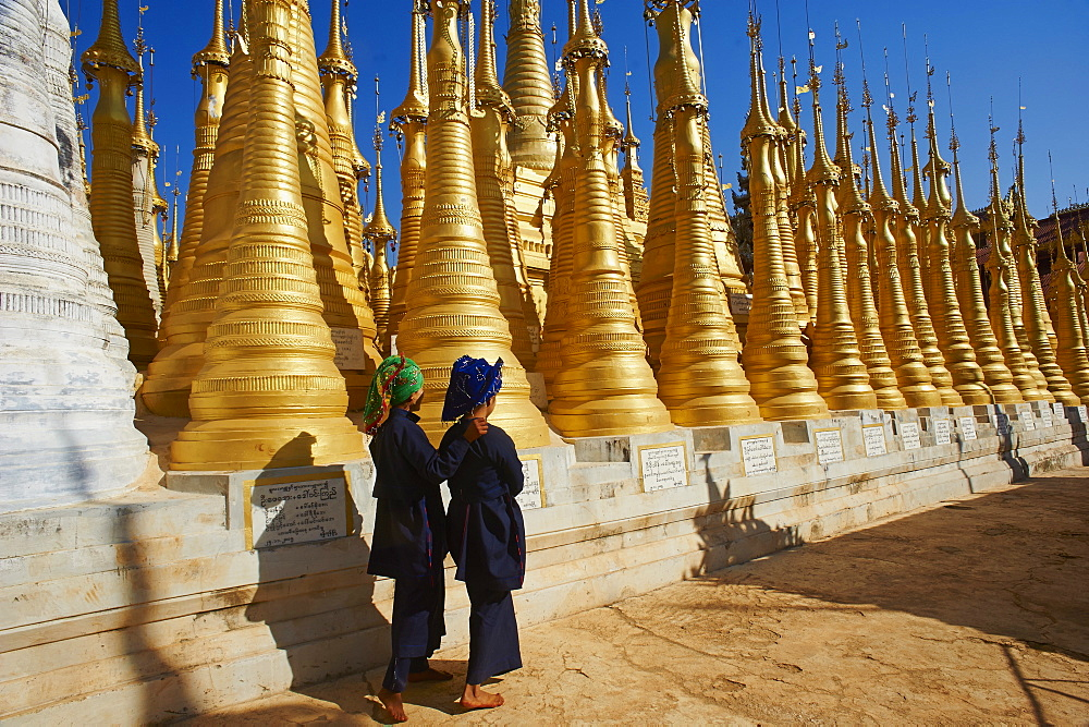 The 1045 stupas of Shwe Inn Thein temple, Inn Dein village, Inle Lake, Shan State, Myanmar (Burma), Asia - 841-1243