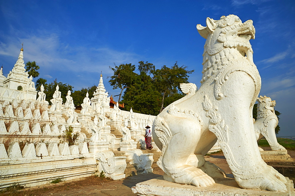Lion statue, Paya Settawya temple, Mingun, Sagaing, Myanmar (Burma), Asia