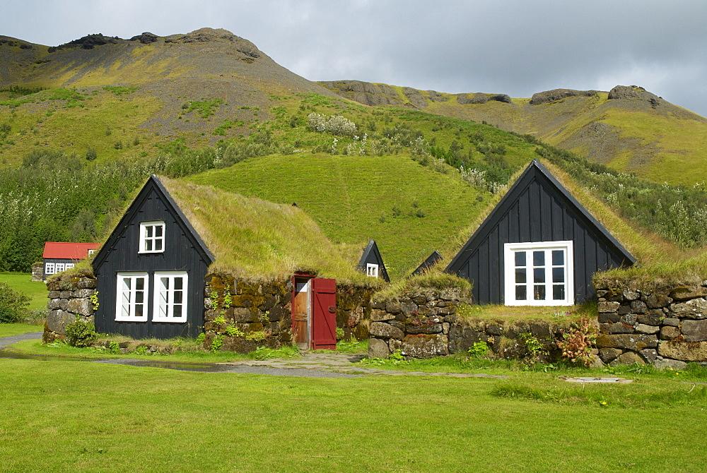 Ancient traditional farm, Skogar, Iceland, Polar Regions