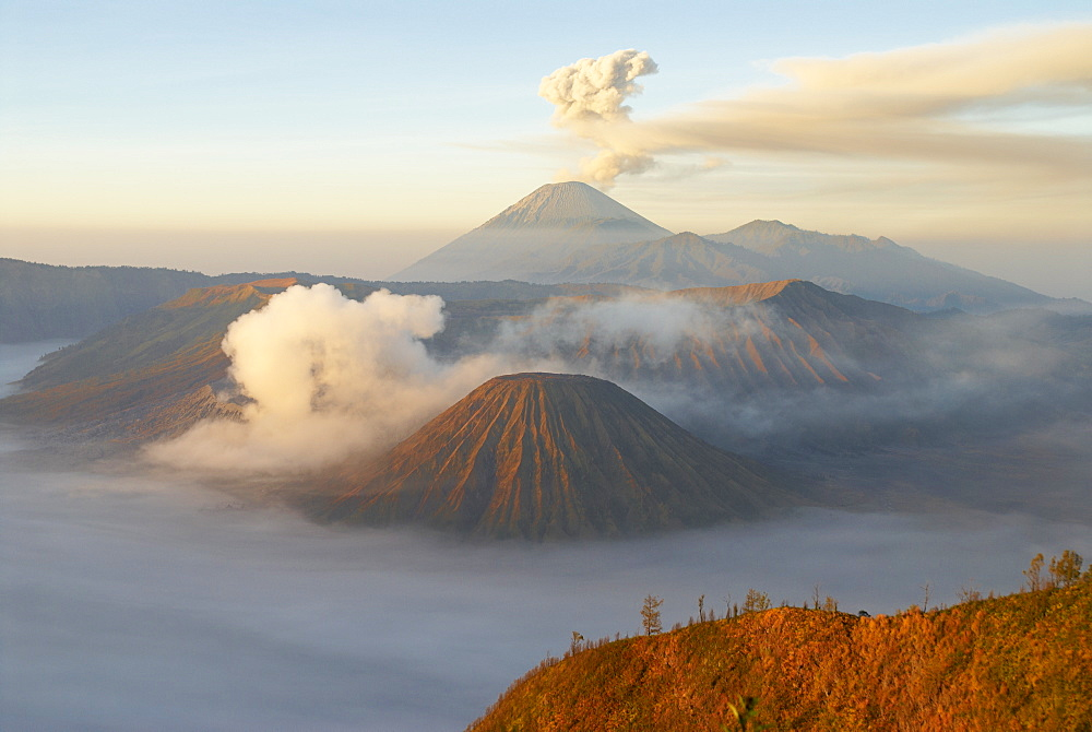 Mount Bromo, a volcano reaching 2392m, and Mount Semeru at 3676m early in the morning, Java, Indonesia, Southeast Asia, Asia
