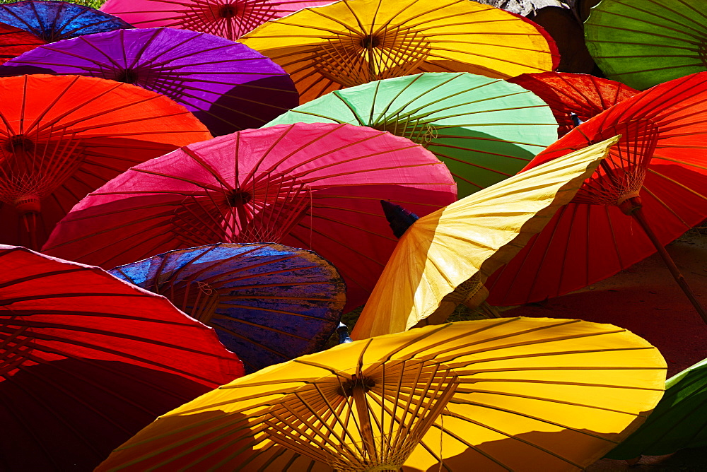 Umbrellas at Borsang Handicraft Village, Chiang Mai, Thailand, Southeast Asia, Asia - 841-1545