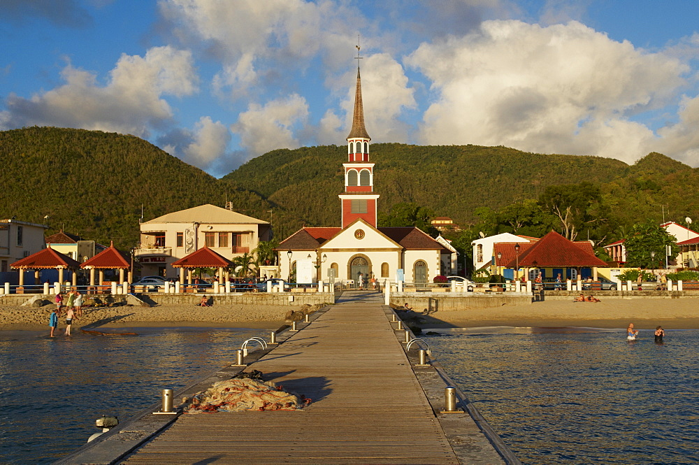 Church and pontoon, Grande Anse, Les Anses d'Arlet, Martinique, Windward Islands, French Overseas Department, West Indies, Caribbean, Central America