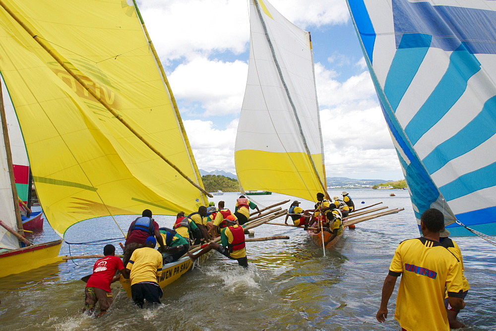 Gommier (traditional boat) race, Les Trois-Ilets, Martinique, French West Indies, Caribbean, Central America