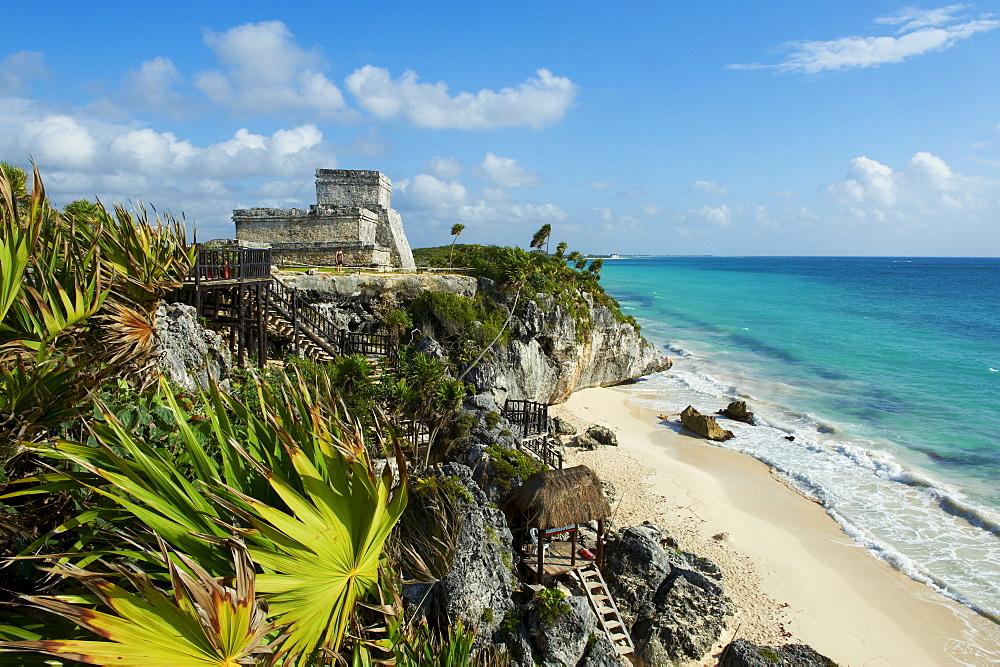 Tulum beach and El Castillo temple at ancient Mayan site of Tulum, Tulum, Quintana Roo, Mexico, North America